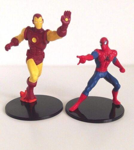 DISNEY Store Spider-Man e Iron Man Statuina cake topper giocattolo Marvel Spiderman