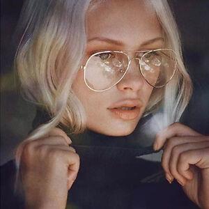 Vintage-Classic-Fashion-Pilot-Aviator-Sunglasses-Clear-Lens-Glasses-Geek-AU