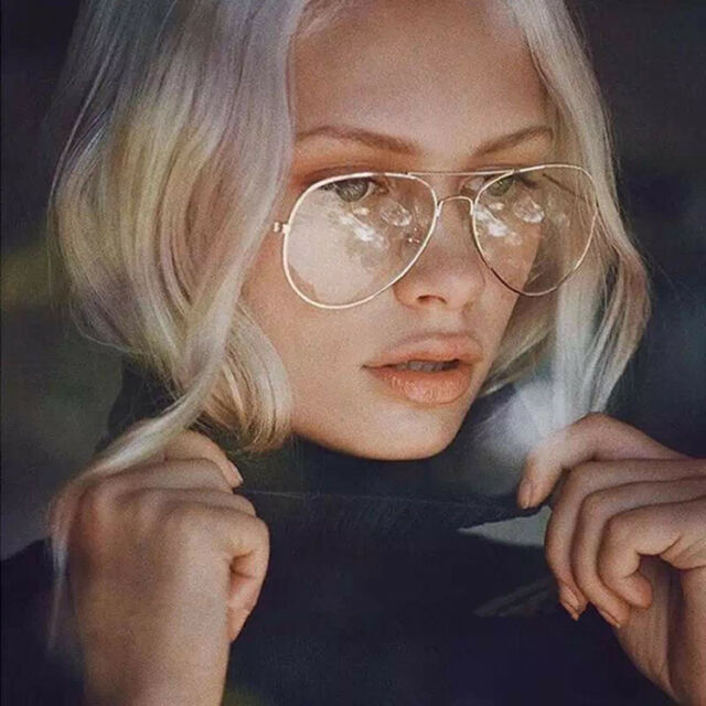 Fashion Cool Clear Lens Aviator Glasses Metal Frame Spectacles Retro Eyeglasses