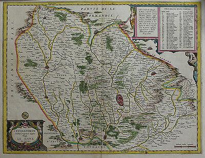 Praktisch Carte Ancienne Du Maine Cenomanorum Galliae, Le Mans Sarthe Ogier Mathieu Esthetisch Uiterlijk
