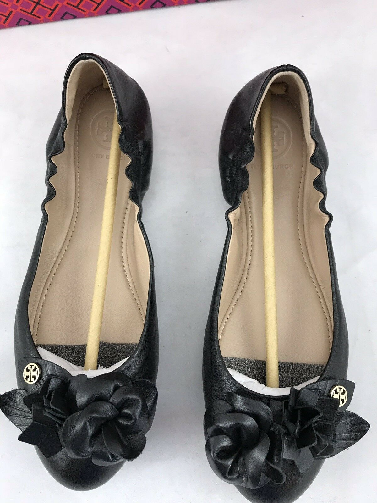Tory Burch Blossom Black Leather Leather Leather Ballet Flat Size 7 US  258 094d1c