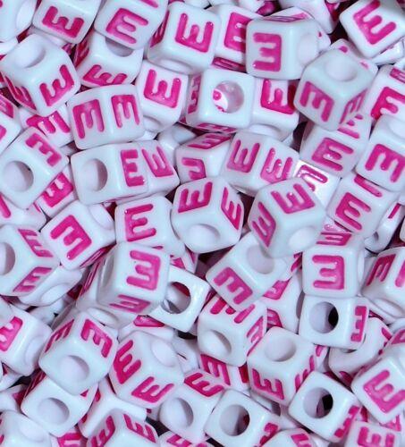 cube 6 mm et 7 mm coloré Lettres Alphabet Lettre Perles blanc