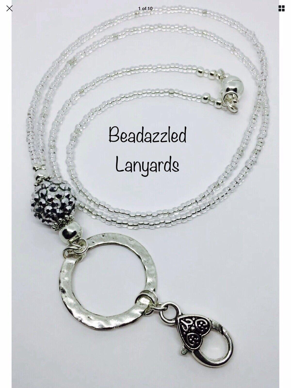 Beaded Lanyard Extra Long Or Short Lanyard,Made To Measure Lanyard ID Pass, L3
