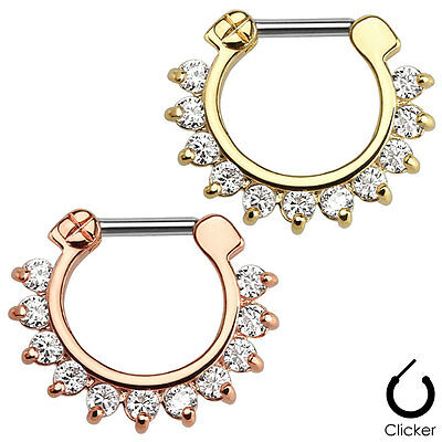 1pc Ion Plated 11-Gem Septum Clicker 316L Surgical Steel 16g Nose Ring