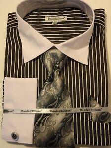 ac248e66 Image is loading Mens-Sophisticated-2-Tone-Black-Striped-Cuffed-Dress-