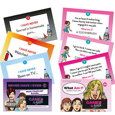 Hannahs Games Never Have I Ever Card Game Hen Party Games 20 Multi Challenge Drink If You Have Game Cards Hen Party Accessories Credit-card Sized Bachelorette Drinking Fun Hen nights Drinks