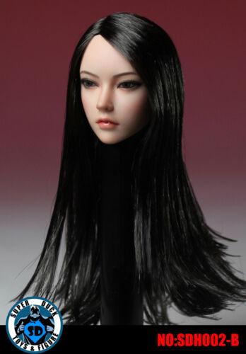 1//6 Asian Female Head Sculpt Long Cheveux noir pour Hot Toys PHICEN pâle figure USA