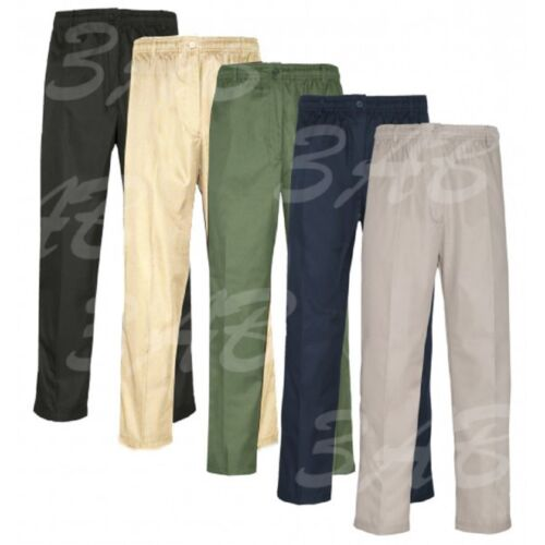 Mens Elasticated Waist Work Casual Plain Rugby Cotton Trousers Pants Big Size