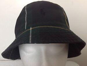 f5fe03b3550d5 Polo Ralph Lauren Bucket Hat~Tartan~Blue Green Yellow~Oil Cloth~Size ...