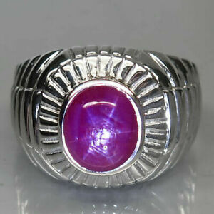 Natural Pinkish Red Star RUBY 6 Rays 925 STERLING SILVER RING S10 Big Huge