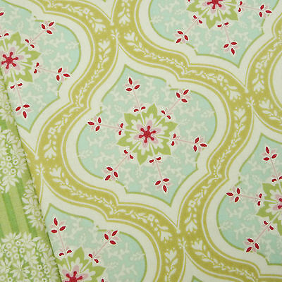 Tilda Apple Bloom Aurora Tan Yellow Fabric / quilting floral bohemian green blue