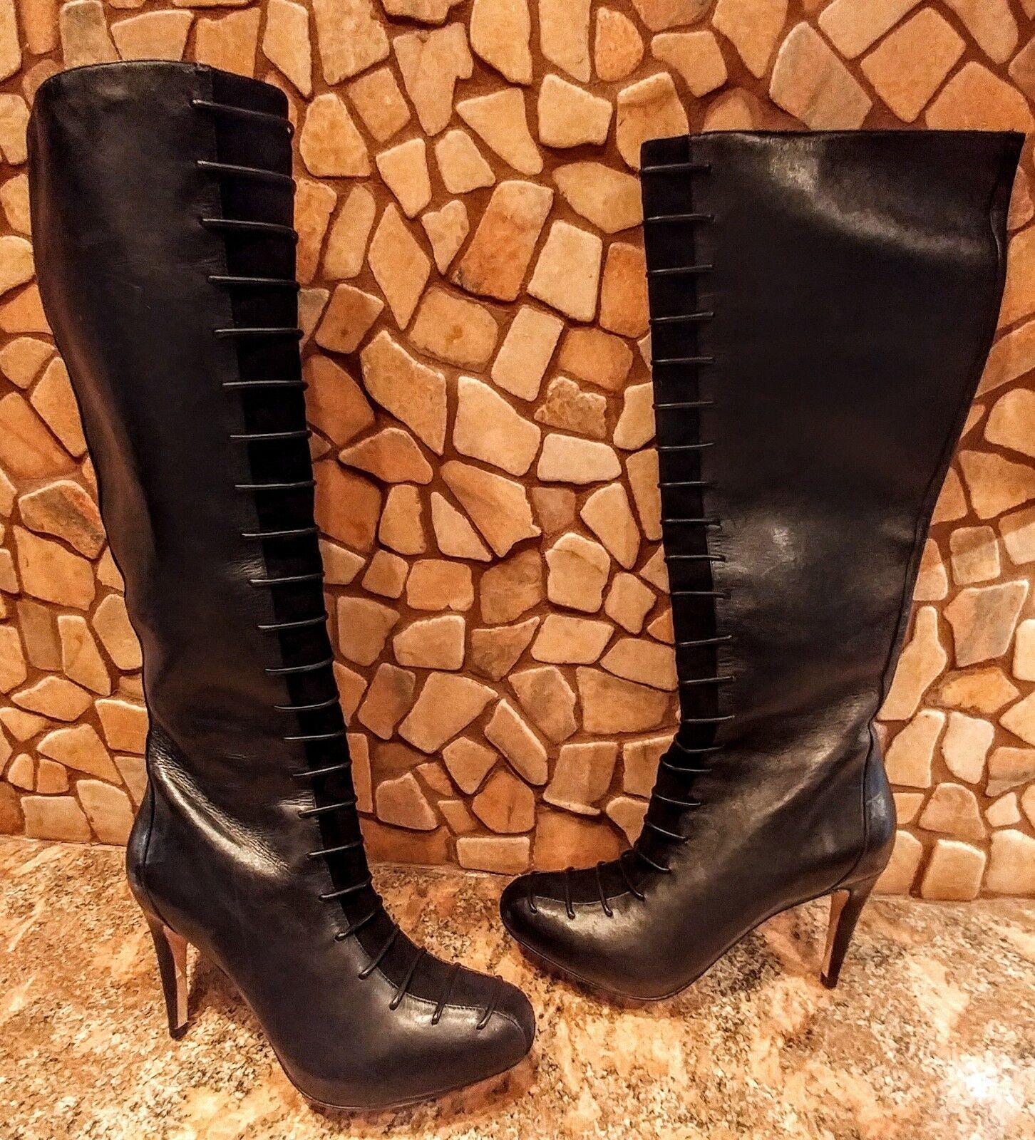 Cole Haan Women Black Leather Suede Platform Knee Boot Sz 8 NEW $548 Rare