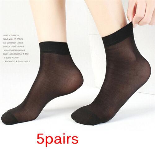 5Pairs Women Nylon Elastic Short Ankle Sheer Stocking Silk Short Socks Pure G*YF