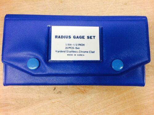 "RADIUS GAGE SET 1//64/"" NN0244 1//2/"" HARDEND STAINLESS-CHROME CLAD"