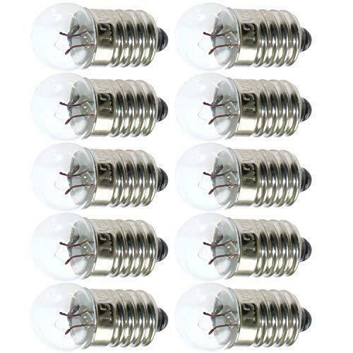 50pcs E10 DC 1.5V//2.5V//3.8V 0.3A Warm White LED Bulb Light Miniature Screw Base