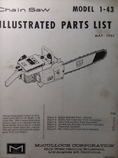 Mcculloch Chain Saw 1 43 Parts Catalog Manual 2 Cycle Gasoline Chainsaw 1962