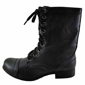 401dae843 Soda Relax Black Women's Lace Up Faux Leather Combat Boot | eBay