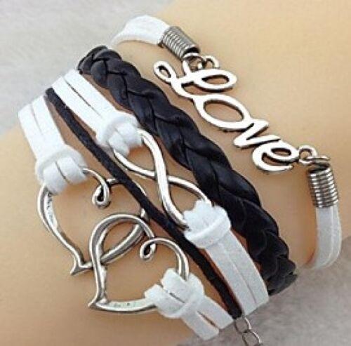 Pulsera enrollada de cuero blanco negro Love-corazón 524858