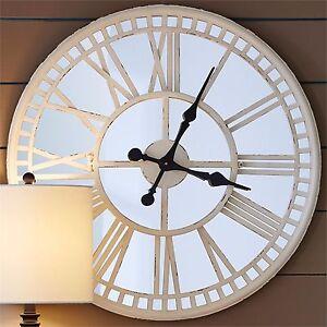 "Mirror Wall Clock split p sanibel cream metal frame mirror wall clock, 28"" | ebay"