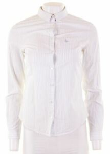 JACK-WILLS-Womens-Shirt-UK-8-Small-White-Striped-Cotton-Classic-Fit-JC07