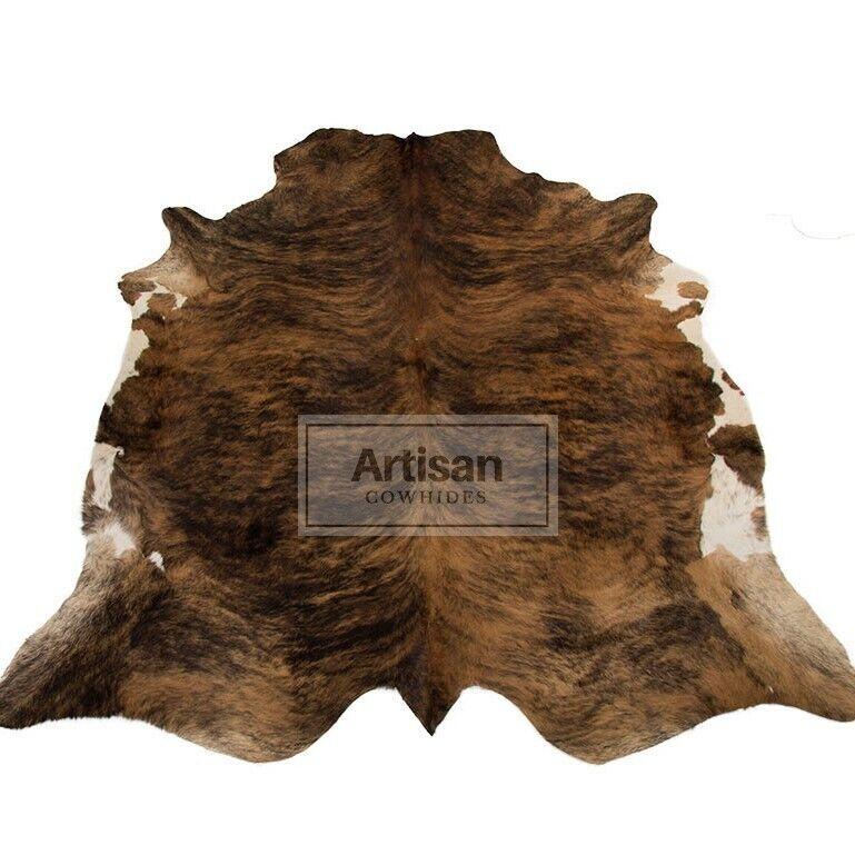 XXLARGE BRINDLE braun COWHIDE RUG 8'x6'5  Ft Cow Skin Rug Cow Hide Carpet