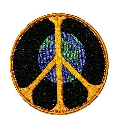 World Peace Sign Hippie Embroidered Iron on Applique Patch