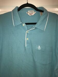 ORIGINAL-PENGUIN-Mens-Polo-Shirt-Size-XL-Short-Sleeve-Classic-Cotton-Blue-Teal