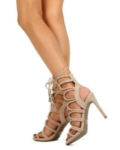 16274f03171 New Women Wild Diva Berlin-72 Suede Open Toe Loop Gladiator Wrap ...