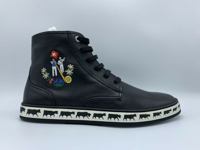 Bally Animals Black Leather High Tops