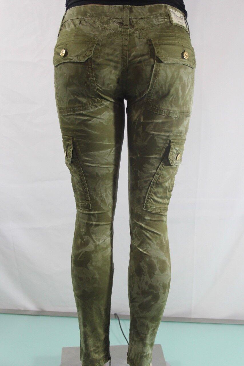 Robin S Jeans Neu Damen Cargo Reißverschluss Stretch Skinny Sz 30 Grüner Tarnung