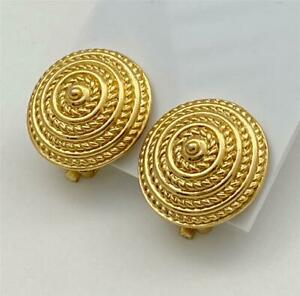 Vintage Sarah Coventry Gold T. Coiled Rope Design Clip Earrings