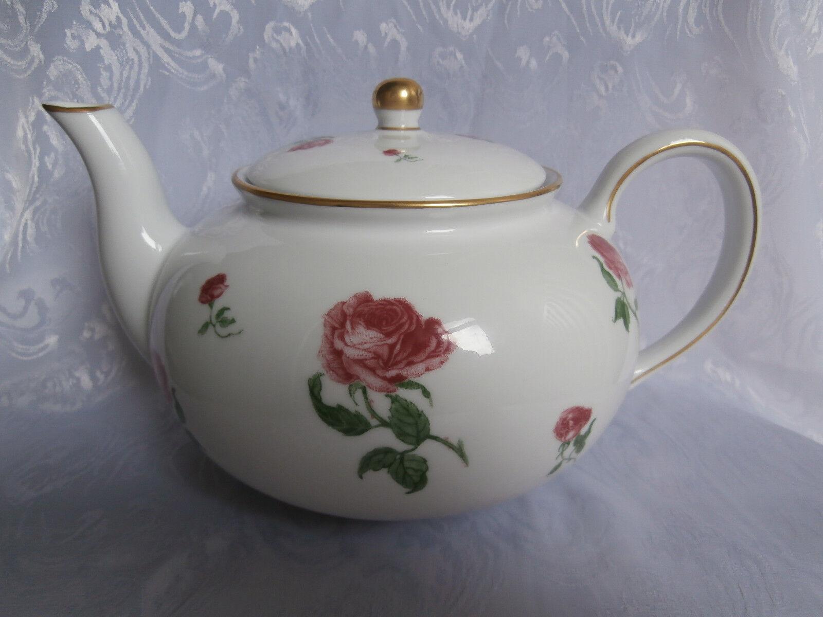 Ralph Lauren Daphne roses roses et feuilles vertes en Porcelaine Grande Théière Rare Cadeau
