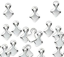 100 Little Plated Metal Teardrop Shaped Paddle Tear Drop Dangle Tag Charms