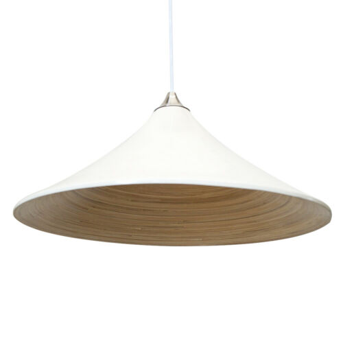 Large Bamboo Shaded Ceiling Pendant Contemporary Style Light Clearance Litecraft
