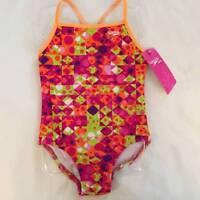 Speedo Girls Swimsuit Size 5 One-piece Racer Back Geometric Orange