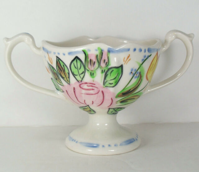 Blue Ridge Southern Pottery Nove Rose Open Sugar Bowl Pink Yellow Flower Footed