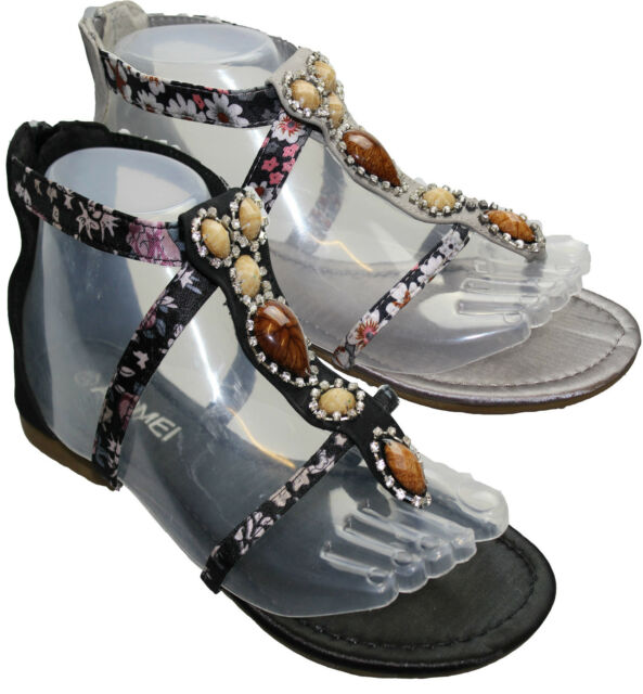 Womens Gladiator Sandals Girls Flat Summer Beach Ladies Dress Evening Shoes