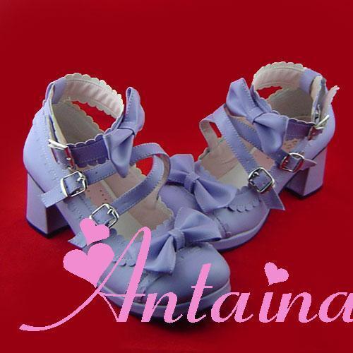 lila purple lolita Schuhes Schuhe violet Stöckel tea time party sweet bow sexy neu