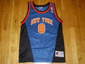 the latest 84a17 21cec Details about VINTAGE 90s CHAMPION LATRELL SPREWELL NEW YORK KNICKS YOUTH  NBA REPLICA JERSEY L