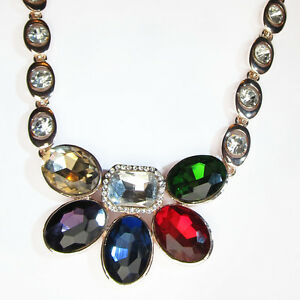 NECKLACE-AND-EARRING-SET-Multi-Colour-Diamante-Gemstone-Proms-Weddings-Jewellery