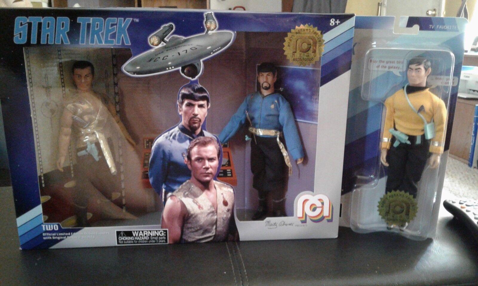 Mego 2018 Star Trek Action Figures Mirror Mirror KIRK SPOCK med Mr Sulu