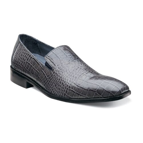 Stacy Adams Men Gray Galindo Leather Crocodile Print Trending Dress Casual Shoe