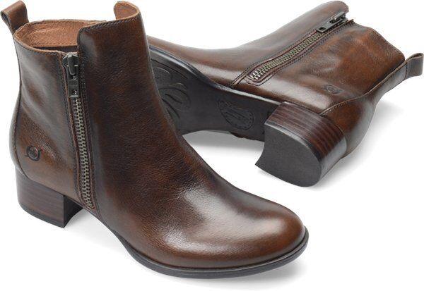 Womens Born Ankle ZipOn Boot Landa Tan Brown Tan Cognac Burnished Leather D41116