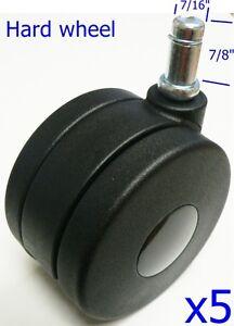 """Oajen 3"""" 75mm twin wheel caster, furniture wheel, 7/16"""" x 7/8"""" grip ring stem"""