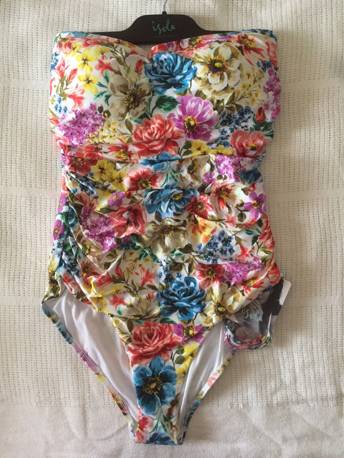 NEW Isola Portofino Ruched Bandeau Maillot One Piece Dahlia Size 14 rrp  189.95