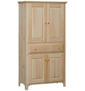 AMISH Unfinished Pine 72 Rustic 4 Door EXTRA LG RUSTIC COUNTRY Pantry Cabinet
