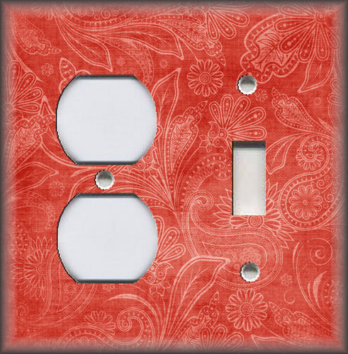 Vintage Gypsy Floral Coral Metal Light Switch Plate Cover Boho Home Decor