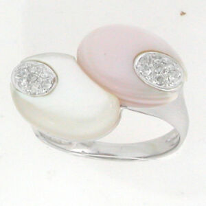 14k-White-Gold-Twin-Mother-of-Pearls-Diamond-Ring-Size-7-0-18-Cts