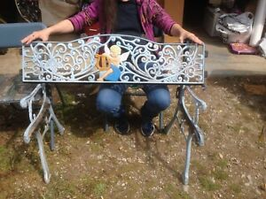 Pleasant Details About Antique Vintage 3 Pc Decorative Angel Cast Iron Garden Park Bench Ends Ibusinesslaw Wood Chair Design Ideas Ibusinesslaworg