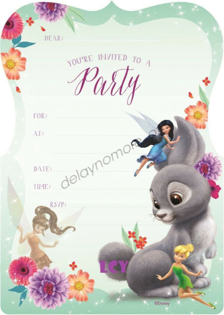Disney Fairies Birthday Baby Shower Party Supplies 16 Invitations Envelope Fairy